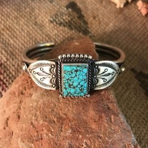 Kingman Turquoise & Sterling Silver Hand stamped